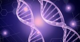 Dna structure and chemical structures against spots of light on purple background