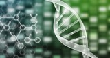 Dna structure and chemical structures against mosaic squares on green background