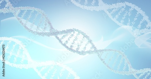 Digitally generated image of dna structures against digital wave on blue background