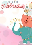 Join the celebration written in blue and red with happy circus animals on pink and white background
