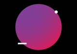 Illustration of pink to purple gradient ball with white circle and rectangle on black background