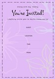 You're invited written in black with white flowers, invite with details space on pink background
