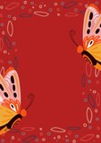 Composition of butterflies and abstract shapes with copy space on red background