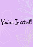 You're invited written in black letters, with white flowers on invite with pink background