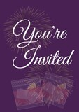 You're invited written in white with pale fireworks and two drinks on invite with purple background
