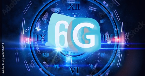 Composition of the word 6g over a blue clock and floating shapes in background