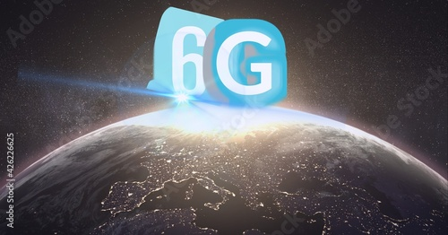 Composition of the word 6g over a globe in background