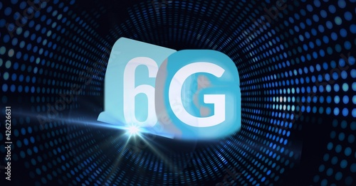 Composition of the word 6g over a tunnel of blue dots in background