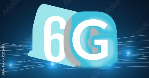 Composition of the word 6g on blue background