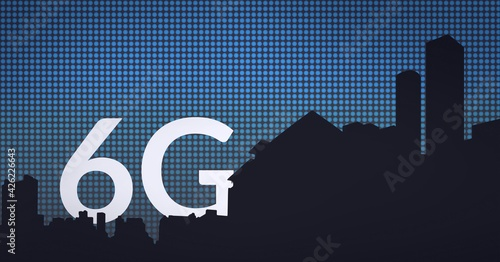Composition of the word 6g over a cityscape sillhouette with a grid in background