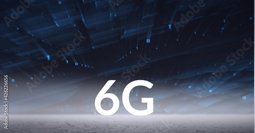 Composition of the word 6g over multiple blue shapes floating in background