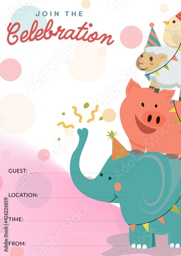 Words join the celebration with happy circus animals and details space on pink and white background