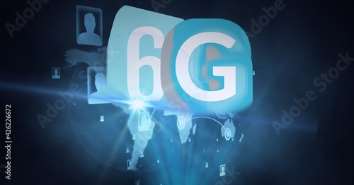 Composition of the word 6g over a world mao with people images in background