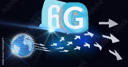 Composition of the word 6g over a globe woth floating white arrows in background