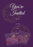 You're invited written in white with drinks design, invite with details space on purple background