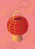 Composition of red chineses lampion hanging over gold decorations on pink background
