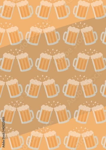 Composition of pairs of beer glasses in rows making toast on orange background