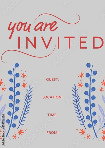 You're invited written in red with blue flowers, invite with details space on grey background