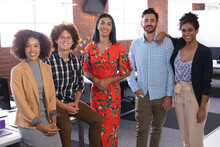 Portrait Of Diverse Business Colleagues Group At The Office Looking To Camera Smiling