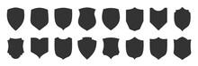 Shield Shape Black Icon Set. Security Minimal Sign Guard Flat Heraldic Simple Symbol. Defense Silhouette Emblem. Strong Protection Logo Design Element. Privacy Guarantee Badge. Web Firewall Pictogram