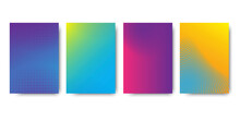 Four Colored Rectangles. Gradient Halftone. Simple Vector Web Banner. Stock Image. Vector Illustration. EPS 10.