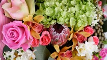 Close-up View From Above Flowers Bouquet Rotation Floral Composition
