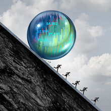 Economic Bubble Stress And Financial Burst Or As A Stock Market Business Speculation With Business People Short Sellers Concept Running Away From An Overvalued Inflated Economy