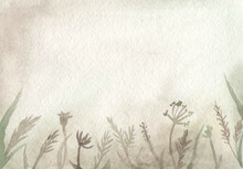 Watercolor Seamless Border Gray With Insects In Dry Grass, Moth, Ant, Spider, Snail, Mushroom