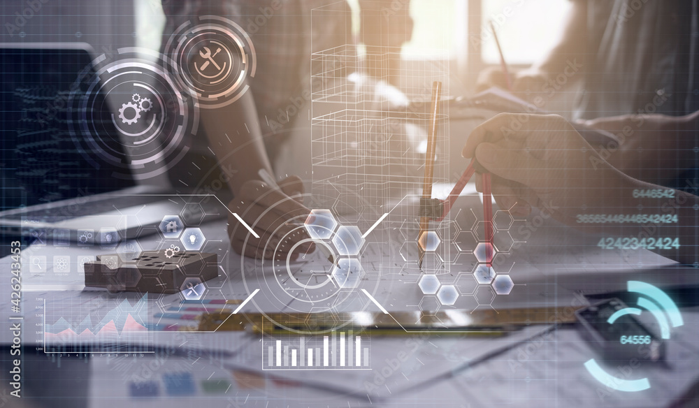 Fototapeta Architecture engineering civil project modern smart technology close up compass building blocks planning blueprint design construction work in office futuristic graphic icon concept digital background