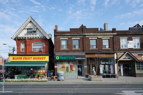 Fototapeta premium Bloor Street, a main street with old fashioned shops catering to the Korean ethnic community.