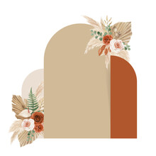 Lovely Terracotta Bohemian Wedding Decoration Design With Rose, Eucalyptus, Pampas And Dry Leaves