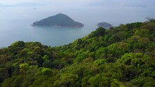 Fly Over Mount Davis Forested Slope To Green Island Northwest Cape Of Hong Kong