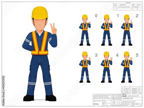 Obraz Set of industrial worker raise hand 0-5 on white background - fototapety do salonu