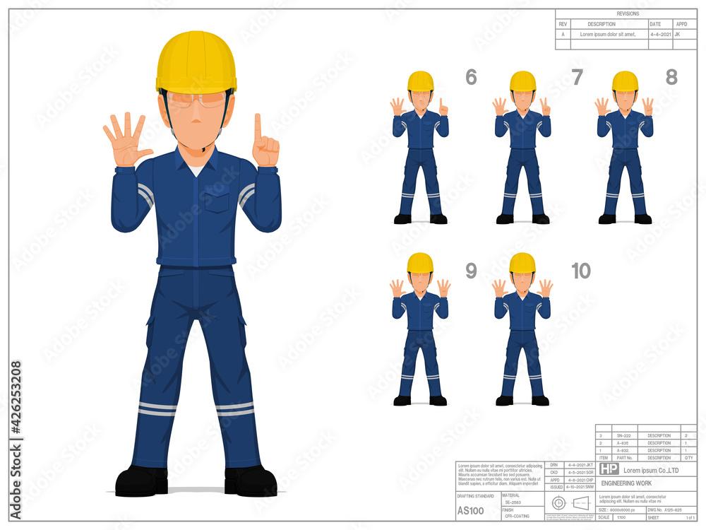 Fototapeta Set of industrial worker raise hand 6-10 on white background