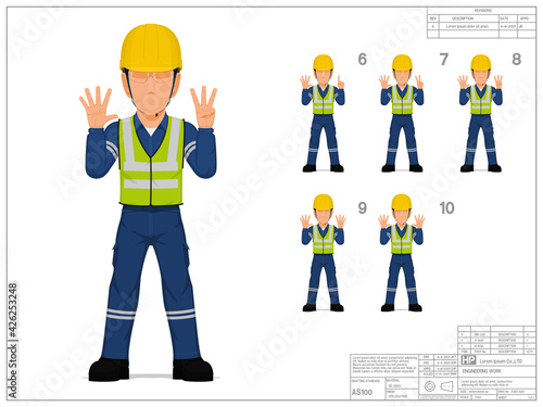 Obraz Set of industrial worker raise hand 6-10 on white background - fototapety do salonu