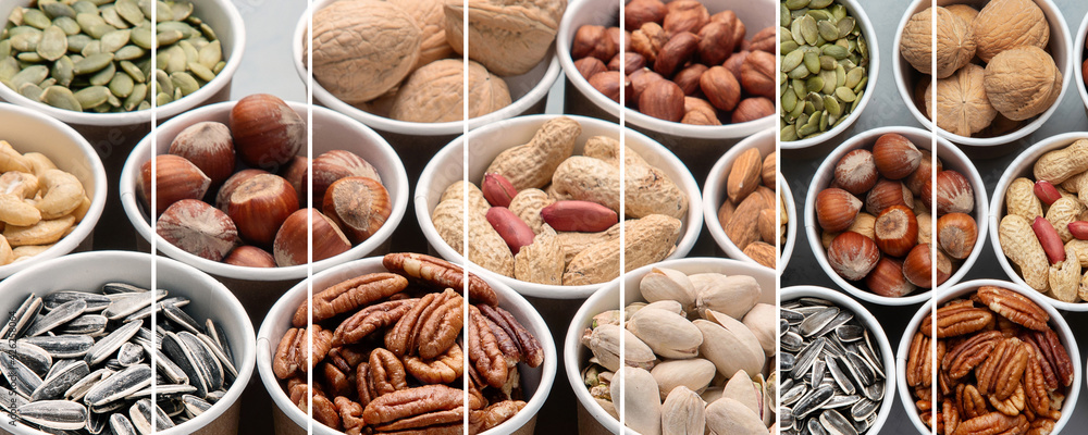 Fototapeta Collage of different types of nuts in ecofriendly cups high in vegan protein, vitamins and antioxidants for immune system boosting.