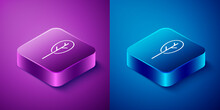 Isometric Spinach Icon Isolated On Blue And Purple Background. Square Button. Vector
