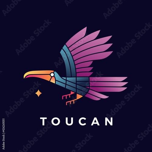 Fototapeta premium toucan bird gradient logo vector icon illustration