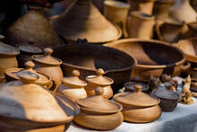 Traditional Ceramic Pots And Bowls For Sale In Street Market, Small Business, Outdoor Street Sale In The Context Of The Coronavirus Pandemic Lockdown
