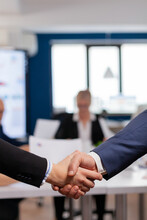 Satisfied Businessman Company Employer Wearing Suit Handshake In Conference Room , Workplace. Man Hr Manager Employ Successful Candidate Shake Hand At Business Meeting, Placement Concept