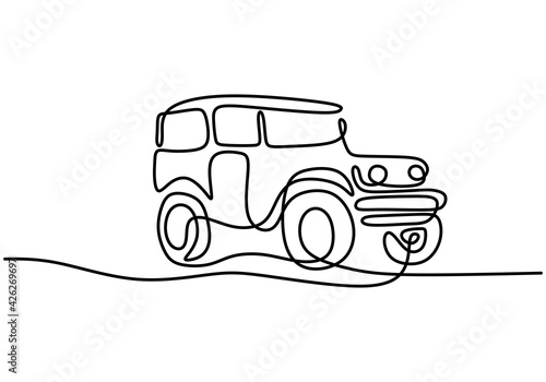 Fotomural One continuous single hand drawn line of jeep wrangler car