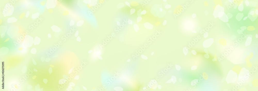 Fototapeta ぼんやりぼやけた新緑の横長背景イラスト