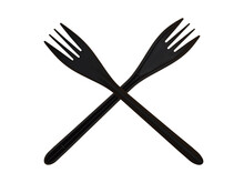 Two Disposable Black Plastic Forks Isolated On A White Background In The Form Of A Sign. The Concept Of Harm To Nature.