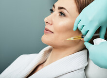 Plasmolifting Injection, Plasma Therapy. Cosmetology Procedure For Woman's Face Skin Using Blood Plasma