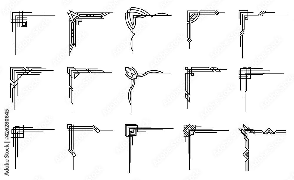 Fototapeta Art deco corners collection. Artwork graphic pattern. Orante wedding invintation element. Vintage retro style symbol design.Vector design object