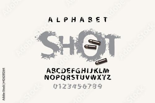 SHOT lettering with spots in grunge style Tapéta, Fotótapéta