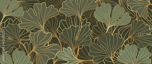 Obraz premium Luxury gold Ginkgo line art background vector. Abstract art design wallpaper.