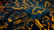 Data Storage Technology Concept With Cloud Upload Symbol On A Microchip. Orange Neon Data Flows Between The CPU And The User Across A Futuristic Motherboard. 3D Render.