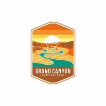 Illustration Of The Grand Canyon National Park Emblem Patch Logo