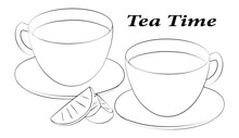A Linear Drawing Of A Tea Party. Lemon Slices, Still Life Of Two Cups And Saucers. The Mugs Are Filled With Tea. Black And White. Vector